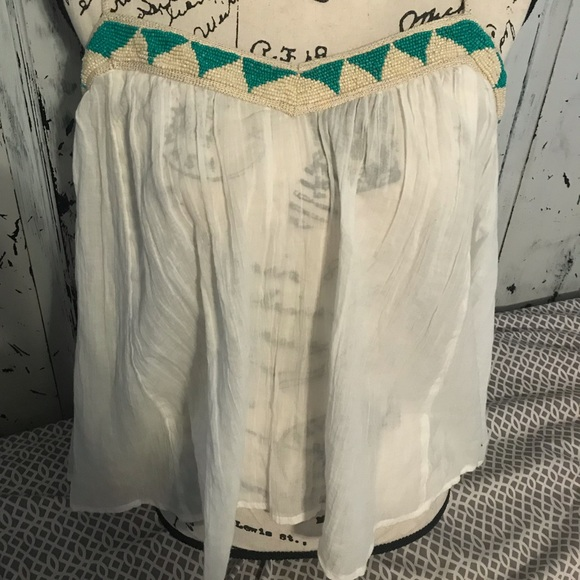 American Eagle Outfitters Tops - American eagle White beaded gold and turquoise top